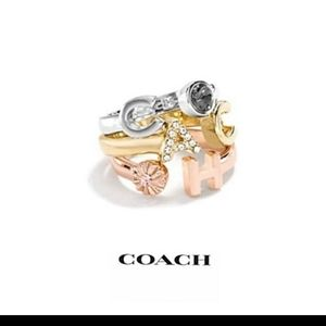 New Coach Tri-Color Adjustable Stackable Ring Set of 3